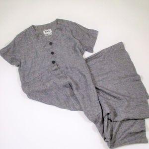 Flax M Maxi Dress Black Linen Chambray Pockets